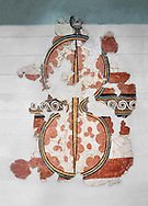 The 'figure of eight shield'  Mycenaean fresco wall painting, Mycenae, Greece Cat No 11672. National Archaeological Museum, Athens. <br /> <br /> The Mycenaean 'figure of eight shield' were originaly made of cows hide and was the symbol of a goddess of war. .<br /> <br /> If you prefer to buy from our ALAMY PHOTO LIBRARY  Collection visit : https://www.alamy.com/portfolio/paul-williams-funkystock/mycenaean-art-artefacts.html . Type -   Athens    - into the LOWER SEARCH WITHIN GALLERY box. Refine search by adding background colour, place, museum etc<br /> <br /> Visit our MYCENAEN ART PHOTO COLLECTIONS for more photos to download  as wall art prints https://funkystock.photoshelter.com/gallery-collection/Pictures-Images-of-Ancient-Mycenaean-Art-Artefacts-Archaeology-Sites/C0000xRC5WLQcbhQ