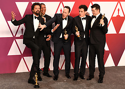 """Bob Persichetti, Peter Ramsey, Rodney Rothman, Phil Lord and Christopher Mille, winners of the Best Animated Feature Film Awards for """"Spider-Man: Into The Spider-Verse"""" at the 91st Annual Academy Awards (Oscars) presented by the Academy of Motion Picture Arts and Sciences.<br /> (Hollywood, CA, USA)"""