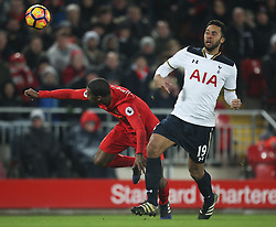 Georginio Wijnaldum of Liverpool (L) and Mousa Dembele of Tottenham Hotspur in action - Mandatory by-line: Jack Phillips/JMP - 11/02/2017 - FOOTBALL - Anfield - Liverpool, England - Liverpool v Tottenham Hotspur - Premier League