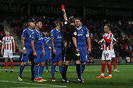 Sam Magri is sent off during the The FA Cup 1st round replay match between Cheltenham Town and Ebbsfleet at LCI Rail Stadium, Cheltenham, England on 20 November 2018.