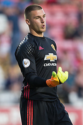 © Licensed to London News Pictures . 15/08/2016 . Leigh , UK . United keeper SAM JOHNSTONE . Manchester United vs Leicester City reserves at Leigh Sports Village Stadium . Photo credit : Joel Goodman/LNP