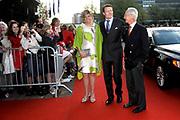Feestelijke bijeenkomst t.g.v. 70ste verjaardag prof.mr. Pieter van Vollenhoven in het Beatrixtheater in Utrecht / Celebration of the 70th birthday of prof.mr. Pieter van Vollenhoven in the Beatrixtheatre in Utrecht.<br /> <br /> On the photo:<br /> <br />  Prince Carlos and Princes Laurentien and Prince Constantijn