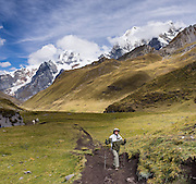 A trekker in Yanayana Valley below Siula Grande and Yerupaja Grande (right 6635 m / 21,770 ft, Peru's 2nd highest peak). Day 2 of 9 days trekking around the Cordillera Huayhuash in the Andes Mountains, Peru, South America. This panorama was stitched from 2 overlapping photos.