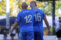 Frank Mulhern and Sam Minihan during the FA Cup fixture between Stockport County and Corby Town at Edgeley Park on 6 October 2018 / James Gill Media