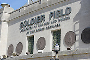 Exterior of the historic Soldier Field in Chicago. that is the home of the Chicago Bears and Fire Soccer.<br /> Photo by Mark Black