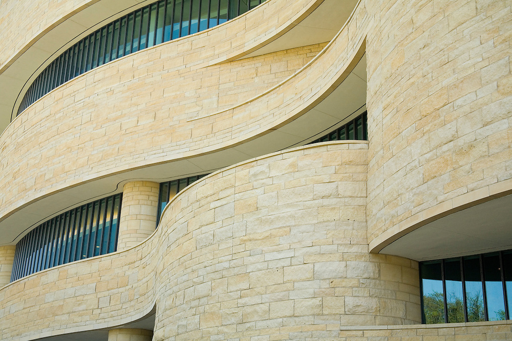 Curvilinear limestone exterior walls of National Museum of the American Indian, Smithsonian Institution, The Mall, Washington D.C. (District of Columbia), United States