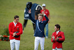 Podium Young Riders, Charles Harry, GBR, Wolf Cedric, GER, Koller Felix, AUT<br /> European Championship Children, Juniors, Young Riders - Fontainebleau 1028<br /> © Hippo Foto - Monique de Smit<br /> Podium Young Riders, Charles Harry, GBR, Wolf Cedric, GER, Koller Felix, AUT