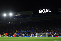 Football - 2021 / 2022 UEFA Europa League - Group C, Round One - Leicester City vs Napoli - King Power Stadium - Thursday 16th September 2021<br /> <br /> A display flashes up as Leicester City's Ayoze Perez scores the opening goal.<br /> <br /> COLORSPORT/Ashley Western