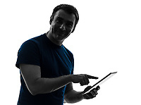 one  man touchscreen digital tablet posing portrait on white background