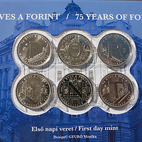 75th anniversary commemorative boxed coin set displaying the text Forint name of the Hungary currency is seen in Budapest, Hungary on Aug. 6, 2021. ATTILA VOLGYI