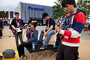 London 2012 Olympic Park in Stratford, East London. Local musicians provide some entertainment on site.