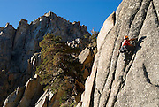 "Andrew Berge climbing ""Coup de Etat"" (5.11a), at Chipmonk Flat on Sonora Pass, High Sierra, California"
