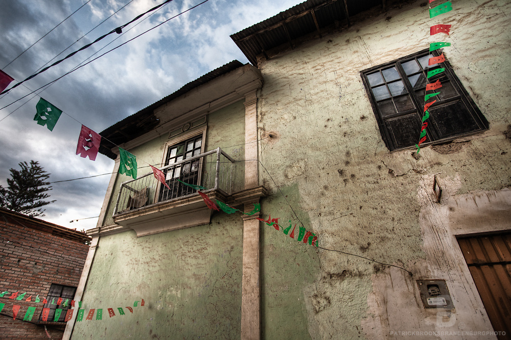 The small town of Sorata, Bolivia which is the gateway to the Cordillera Real of the Bolivian Andes as well as the Amazon Basin, and has old rich culture. Old adobe and mud brick building.
