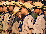 22 NOVEMBER 2016 - BANGKOK, THAILAND:  Thai Boy Scouts in a formation on Sanam Luang to honor the Late King. Hundreds of thousands of Thais gathered across Thailand Tuesday to swear allegiance to the Chakri Dynasty, in a ceremony called Ruam Phalang Haeng Kwam Phakdi (the United Force of Allegiance). At Sanam Luang, the Royal Parade Ground, and location of most of the mourning ceremonies for the late King, people paused to honor His Majesty by singing the Thai national anthem and the royal anthem.      PHOTO BY JACK KURTZ