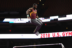 August 18, 2018 - Boston, Massachussetts, U.S - JALON STEPHENS competes on the high bar during the final round of competition held at TD Garden in Boston, Massachusetts. (Credit Image: © Amy Sanderson via ZUMA Wire)