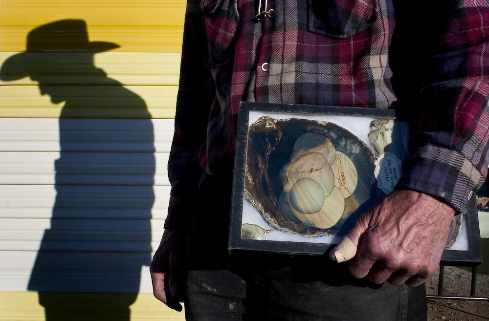 Rock vendor Leonard Kopcinski, Quartzsite, Arizona