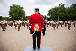 © Licensed to London News Pictures. 10/06/2013. London, UK. The Senior Director of Music, Lieutenant Colonel Stephen Barnwell, who will retire this year after 38 years in military music, conducts the Massed Bands of the British Army's Household Division as they carry out a dress rehearsal ahead of the annual Beating Retreat ceremony in London today (10/06/2013). The musical event, which takes place on Horse Guards Parade, will be held on the 12th and 13th of June this year, with Prince Philip and the Queen attending. Photo credit: Matt Cetti-Roberts. Photo credit: Matt Cetti-Roberts/LNP