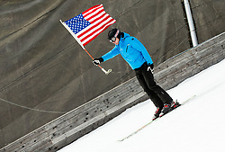 Flag of USA during Ski Flying Hill Men's Team Competition at Day 3 of FIS Ski Jumping World Cup Final 2017, on March 25, 2017 in Planica, Slovenia. Photo by Vid Ponikvar / Sportida