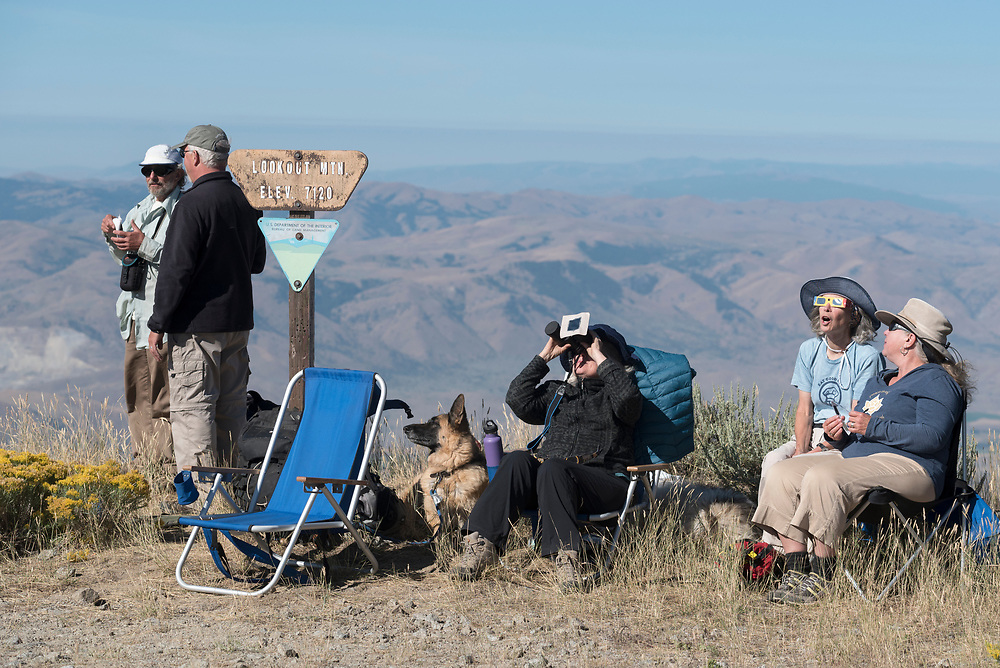 Eclipse watchers on the summit of Big Lookout Mountain in Eastern Oregon.