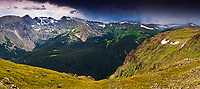 """""""Storm's Coming"""" - Rocky Mountain National Park, Colorado<br /> <br /> This is a multi-image stitched panoramic photographed at an elevation of about 14,000 feet on Trail Ridge Road in August of 2008. The incoming storm brought some wind, rain, and a little sleet."""