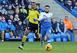 Peterborough United's Erhun Oztumer gets away from Colchester United's Sanchez Watt  - Photo mandatory by-line: Joe Dent/JMP - Mobile: 07966 386802 - 10/01/2015 - SPORT - Football - Peterborough - ABAX Stadium - Peterborough United v Colchester United - Sky Bet League One