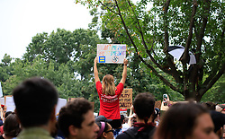 A counter-protester sitting on someone's shoulders holds a sign for the White Civil Rights demonstrators to read in Lafayette Square Park in Washington, DC, USA on Sunday, August 12, 2018. Photo by Darryl Smith/TNS/ABACAPRESS.COM