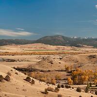 A panorama of the Montana Ranch (foreground), southern Gallatin Valley and Gallatin Range, near Bozeman, Montana.