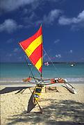 Outrigger Sailing Canoe, Kailua Beach, Kailua, Oahu, Hawaii, USA<br />