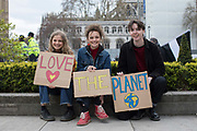 Young climate change protesters outside Parliament Square on the 12th April 2019 in London in the United Kingdom.