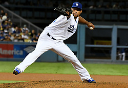 September 7, 2017 - Los Angeles, California, U.S. - Los Angeles Dodgers relief pitcher Edward Paredes throws to the plate against the Colorado Rockies in the seventh inning of a Major League baseball game at Dodger Stadium on Thursday, Sept. 07, 2017 in Los Angeles. (Photo by Keith Birmingham, Pasadena Star-News/SCNG) (Credit Image: © San Gabriel Valley Tribune via ZUMA Wire)