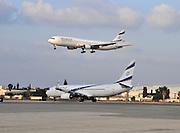 Israel, Ben-Gurion international Airport. Two El Al Passanger planes