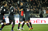 FOOTBALL - FRENCH CHAMPIONSHIP 2011/2012 - L1 - PARIS SAINT GERMAIN v TOULOUSE FC  - 14/01/2012 - PHOTO JEAN MARIE HERVIO / REGAMEDIA / DPPI - JOY JAVIER PASTORE WITH NENE (PSG)