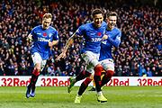 James Tavernier of Rangers celebrates with Glenn Middleton & Joe Worrall of Rangers during the Ladbrokes Scottish Premiership match between Rangers and Motherwell at Ibrox, Glasgow, Scotland on Sunday 11th November 2018.