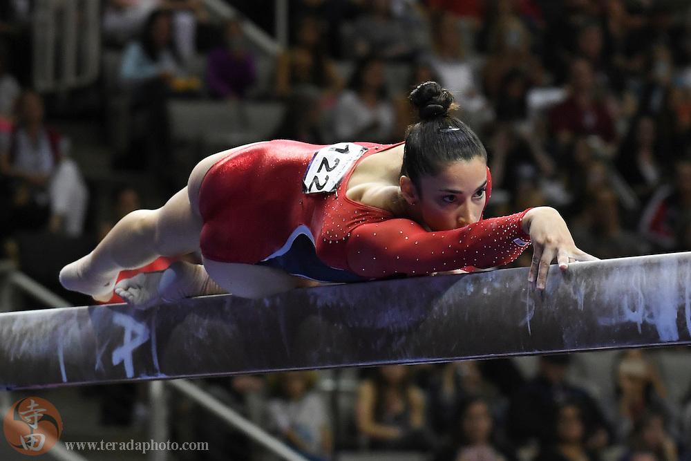 July 8, 2016; San Jose, CA, USA; Aly Raisman, Needham, MA, during the balance beam in the women's gymnastics U.S. Olympic team trials at SAP Center.
