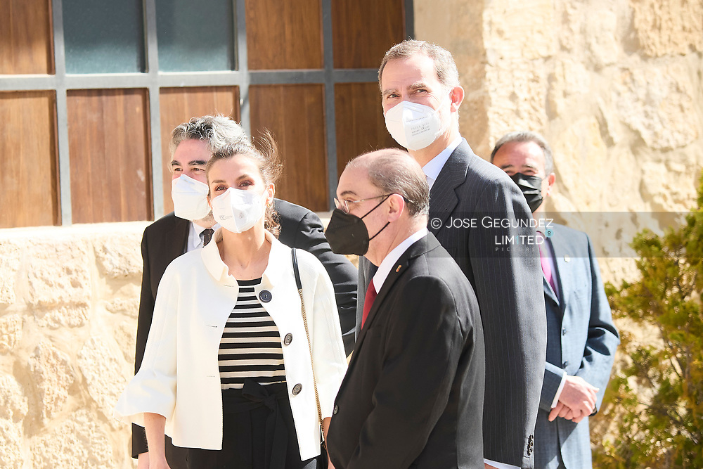 King Felipe VI of Spain, Queen Letizia of Spain visit Fuendetodos in the framework of the commemoration of the 275th anniversary of the birth of Francisco de Goya at Goya's birthplace on March 29, 2021 in Fuendetodos, Spain