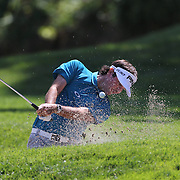 Bubba Watson, USA, hits out of the sand trap on the fourth during the second round of The Barclays Golf Tournament at The Plainfield Country Club, Edison, New Jersey, USA. 28th August 2015. Photo Tim Clayton