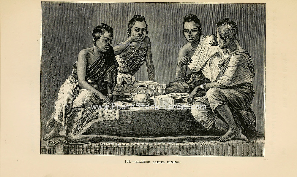 Siamese Ladies Dining engraving on wood From The human race by Figuier, Louis, (1819-1894) Publication in 1872 Publisher: New York, Appleton
