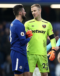 West Ham United goalkeeper Joe Hart (right) consoles Chelsea's Olivier Giroud after the final whistle