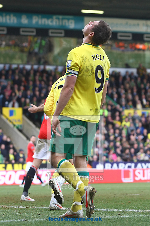 Picture by Paul Chesterton/Focus Images Ltd.  07904 640267.26/02/12.Grant Holt of Norwich rues a missed chance during the Barclays Premier League match at Carrow Road Stadium, Norwich.