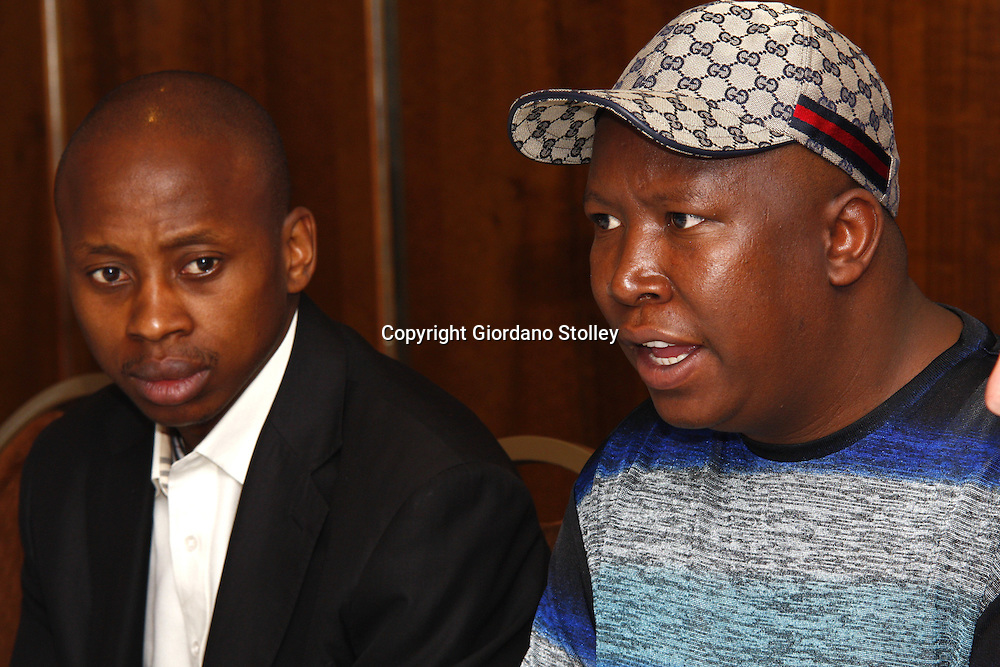 PRETORIA - 15 October 2010 - African National Congress Youth League president (Right) Julius Malema officialy welcomes the organising committee for the 17 th World Festival for Youth and Students as ANCYL deputy president Andile Lungisa looks on. -- APP/Allied Picture Press