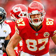 KANSAS CITY, MO - OCTOBER 07: Travis Kelce #87, tight end with the Kansas City Chiefs, celebrated following a 40-yard gain on a second quarter pass catch against the Jacksonville Jaguars at Arrowhead Stadium on October 7, 2018 in Kansas City, Missouri. (Photo by David Eulitt/Getty Images)
