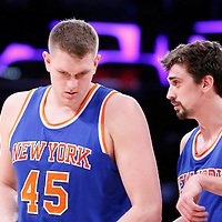 12 March 2015: New York Knicks guard Alexey Shved (1) talks to New York Knicks center Cole Aldrich (45) during the New York Knicks 101-94 victory over the Los Angeles Lakers, at the Staples Center, Los Angeles, California, USA.