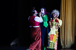 International comedy clown troupe Aga-Boom. Dimitri Bogatirev (Aga), Philip Briggs (Dash), and Iryna Ivanytska (Boom).  Aga-Boom, veterans of Cirque du Soleil and the Russian State Circus have performed for more that 500,000 people in Japan, Mexico, Korea, Singapore, and Russia.  Reichhold Center Family Series with the international comedy clown troupe Aga-Boom.  Reichhold Center.  9 November 2012.  © Aisha-Zakiya Boyd
