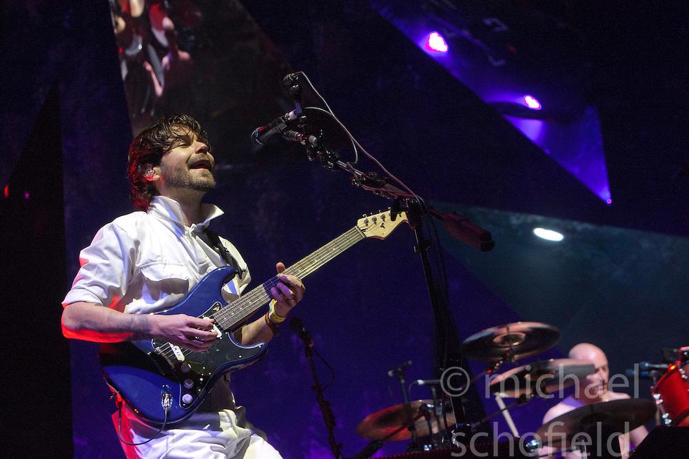 Simon Neil of Biffy Clyro headline Sunday night on the main stage..Sunday at Rockness 2012..©Michael Schofield..