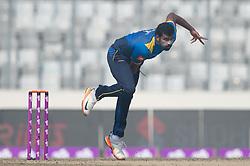 January 25, 2018 - Dhaka, Dhaka, Bangladesh - Sri Lanka All rounder Thisara Perera bowling during the 6th ODI match in the Tri-series between Sri Lanka vs Bangladesh at the Sher-e-Bangla National Cricket Stadium in Mirpur, Dhaka on 25th  January 2018. (Credit Image: © Sameera Peiris/Pacific Press via ZUMA Wire)