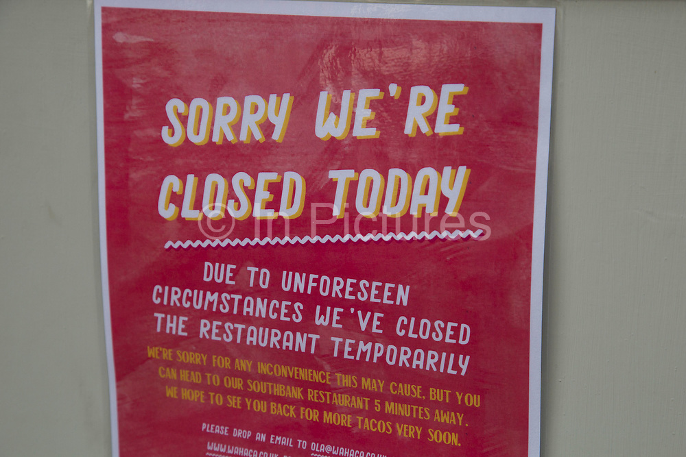 """Following a suspected outbreak of norovirus, several branches of the Wahaca Mexican food chain were closed after over 350 members of the public and staff fell ill of a probable breakout of the winter vomiting bug, including this branch in Covent Garden in London, United Kingdom. Co-founders Thomasina Miers, and Mark Selby, said: """"We assessed each case and when it became clear they were not isolated incidents, we got in touch with relevant officials at Public Health England and environmental health officers."""" In all nine branches were suspected and closed, and four have reopened as of 3rd November 2016."""