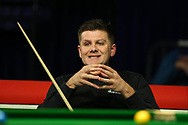 Ryan Day of Wales reacts during his defeat by Kurt Dunham of Australia in his 1st round match. ManBetx Welsh Open Snooker 2018, day 1 at the Motorpoint Arena in Cardiff, South Wales on Monday 26th February 2018.<br /> pic by Andrew Orchard, Andrew Orchard sports photography.
