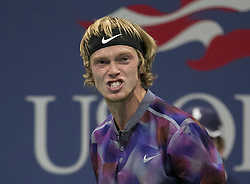 September 6, 2017 - Flushing Meadows, New York, U.S - Andrey Rublev during his match on Day Ten of the 2017 US Open against Rafael Nadal at the USTA Billie Jean King National Tennis Center on Wednesday September 5, 2017 in the Flushing neighborhood of the Queens borough of New York City. 6-1, 6-2, 6-2. JAVIER ROJAS/P (Credit Image: © Prensa Internacional via ZUMA Wire)