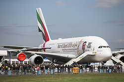 April 25, 2018 - Berlin, Germany - An Airbus A380 of Emirates Airlines is pictured during the Innovation and Leadership in Aerospace (ILA) Exhibition 2018 in Schoenefeld, Germany on April 25, 2018. The International Aerospace exhibition hosts about 1,000 exhibitors and will be running from April 25 to 29, 2018. (Credit Image: © Emmanuele Contini/NurPhoto via ZUMA Press)
