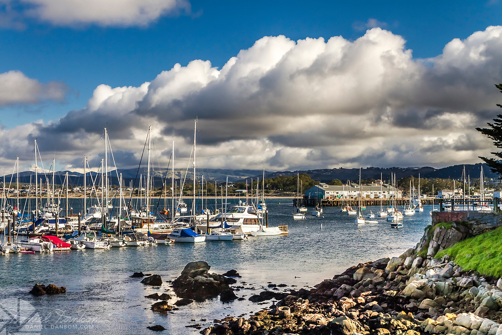 View of Monterey Harbor from the Recreation Trail along the shore.